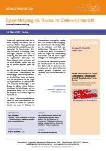 16. März - Info-Veranstaltung: Cyber-Mobbing im (Online-)Unterricht
