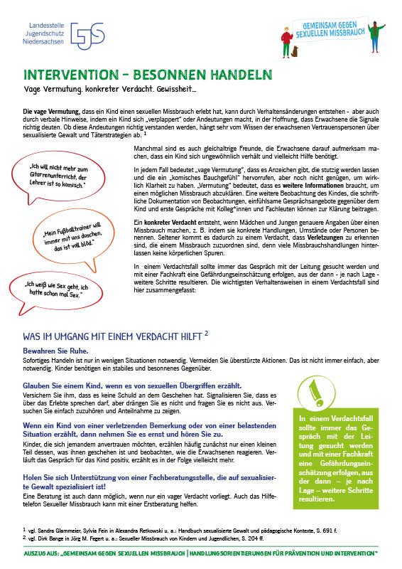 """Vermutung, Verdacht, Gewissheit: Intervention, aus """"Gemeinsam gegen sexuellen Missbrauch – Handlungsorientierung für Prävention und Intervention"""""""